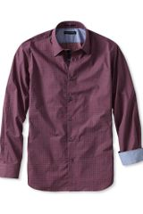 Banana Republic Slim Fit Square Print Shirt Cherry - Lyst