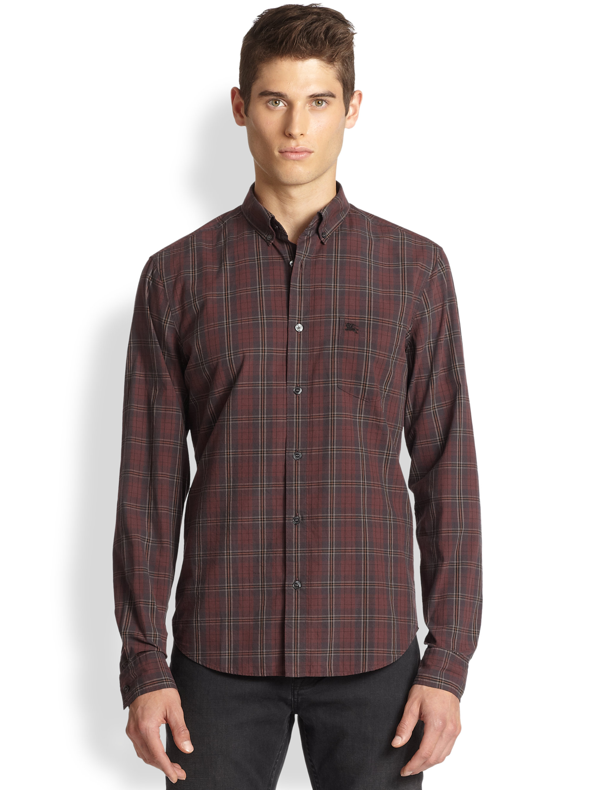 Burberry Brit Fred Buttondown Plaid Shirt In Purple For