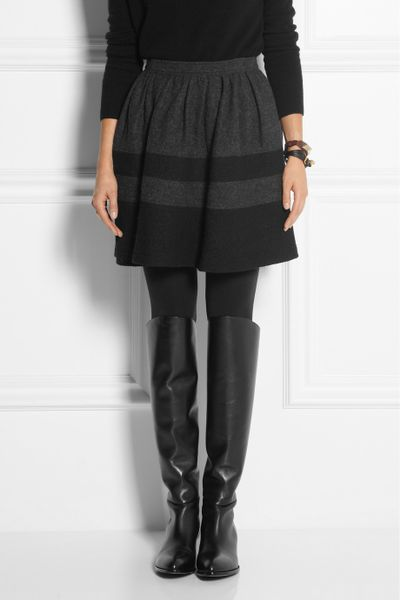 burberry brit pleated woolblend skirt in gray lyst