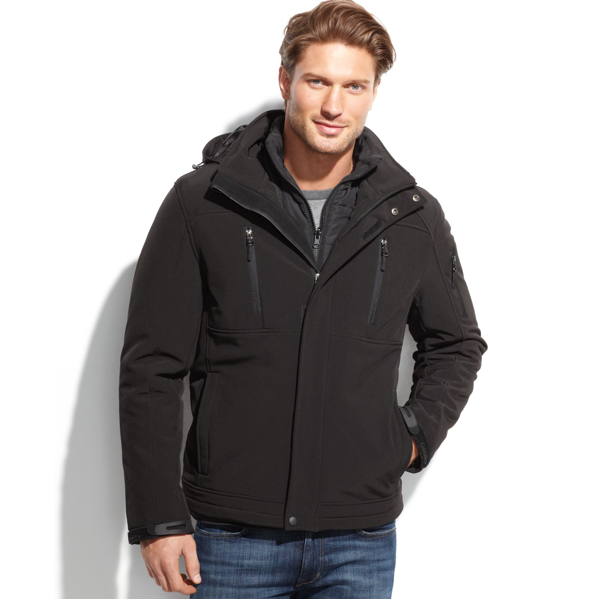 Lyst Calvin Klein 3in1 Systems Softshell Jacket In Black