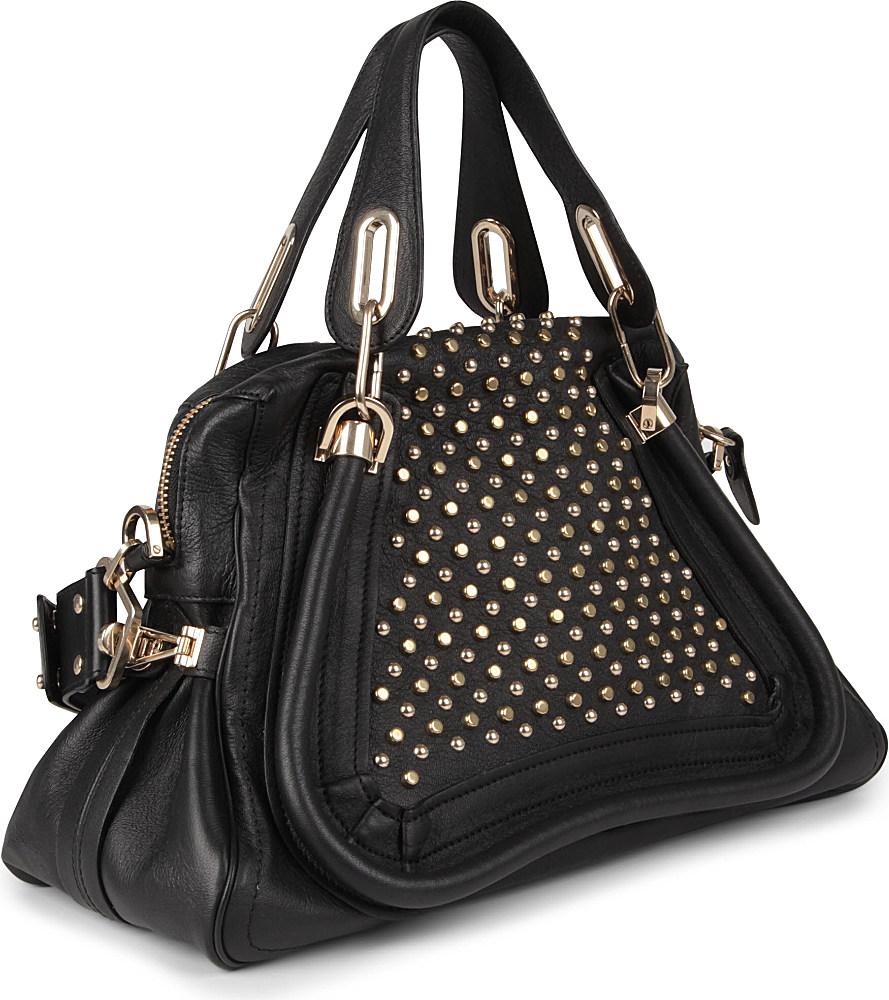 Chlo¨¦ Paraty Military Medium Studded Leather Shoulder Bag in Black ...