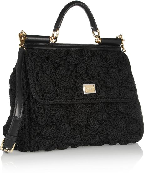 dolce gabbana miss sicily crochet and leather shoulder