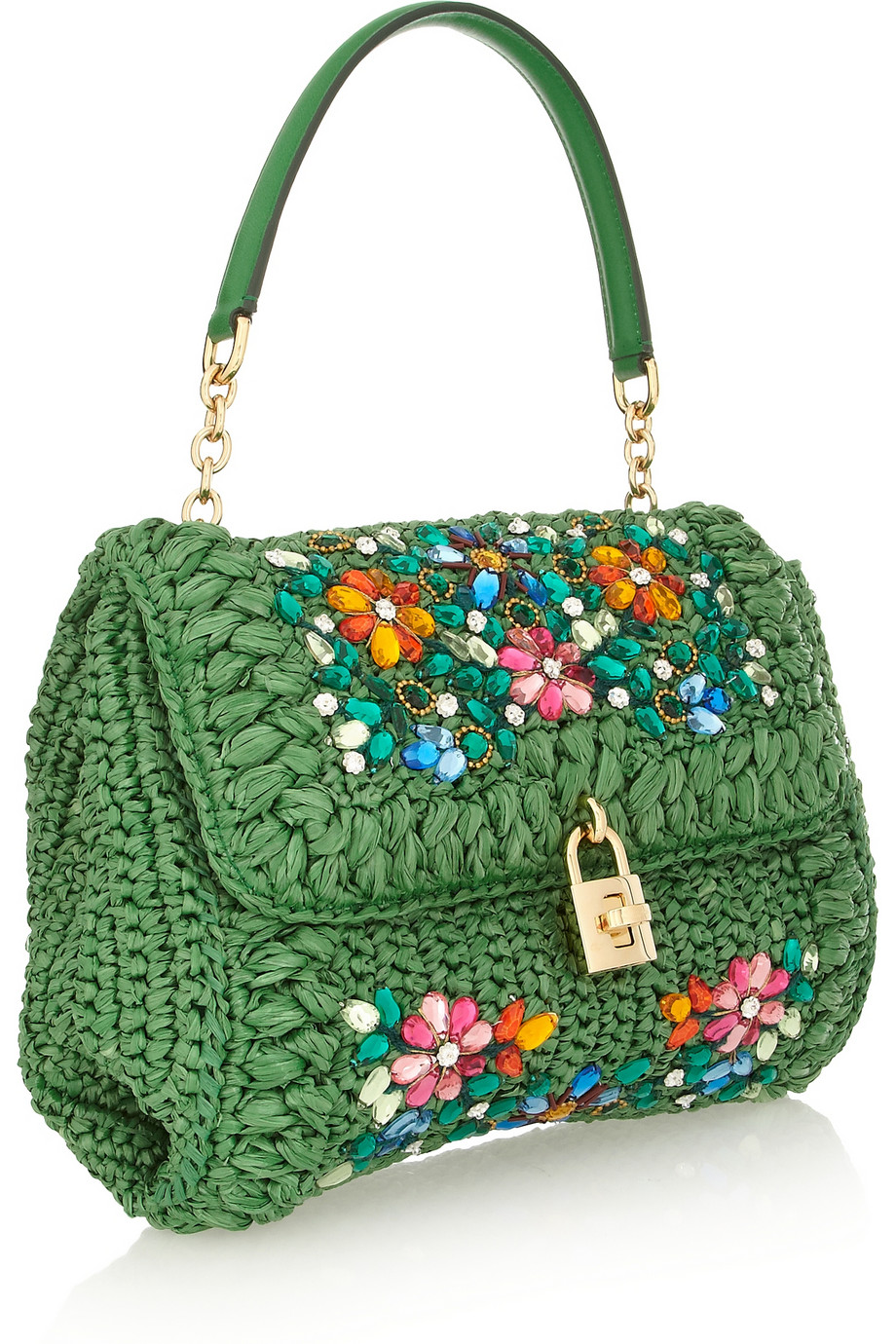 ... Lyst - Dolce Gabbana Miss Dolce Medium Embellished Raffia and Leather  Shoulder Bag in Green more ... e1fb251849a4a