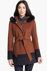 Ellen Tracy Genuine Fox Fur Trim Hooded Coat - Lyst