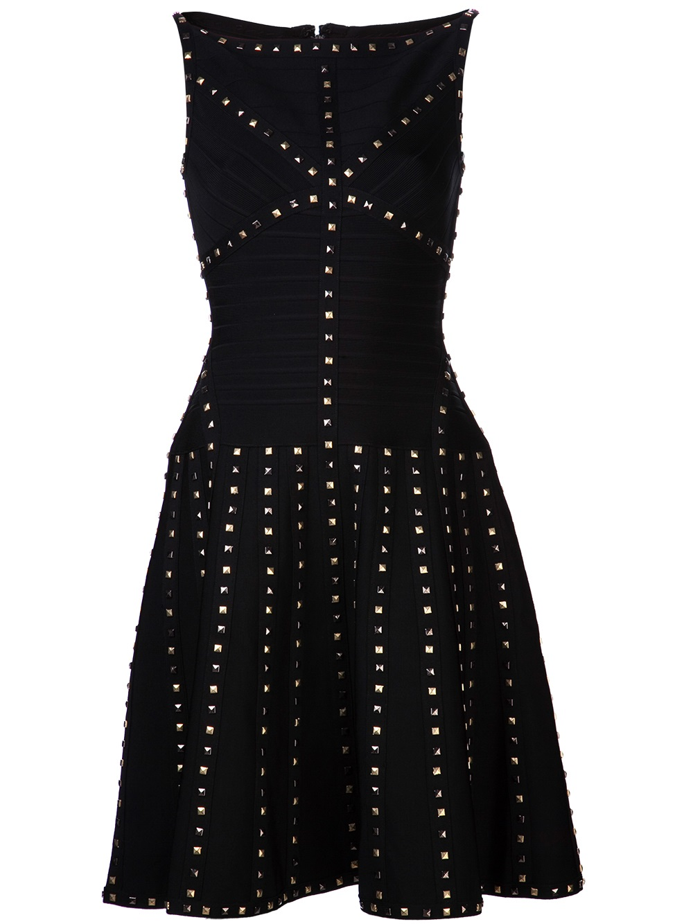 Lyst Herv 233 L 233 Ger Pyramid Stud Trim Dress In Black