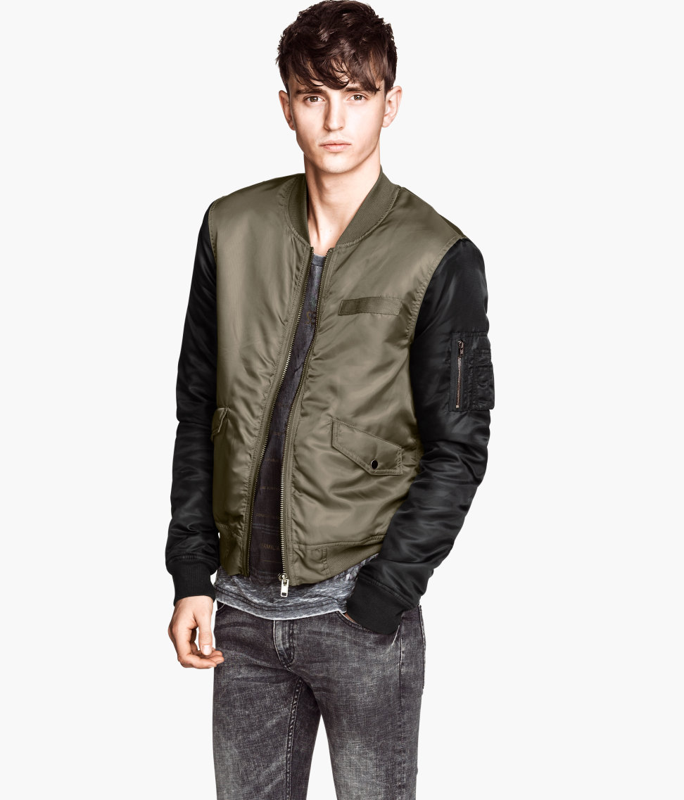 H Amp M Padded Bomber Jacket In Green For Men Lyst