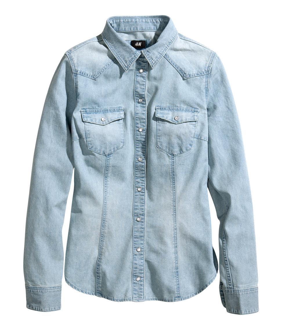 fe108efe7011 H&M Denim Shirt in Blue - Lyst