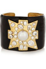 Kenneth Jay Lane Enameled Goldplated Swarovski Crystal Cuff - Lyst
