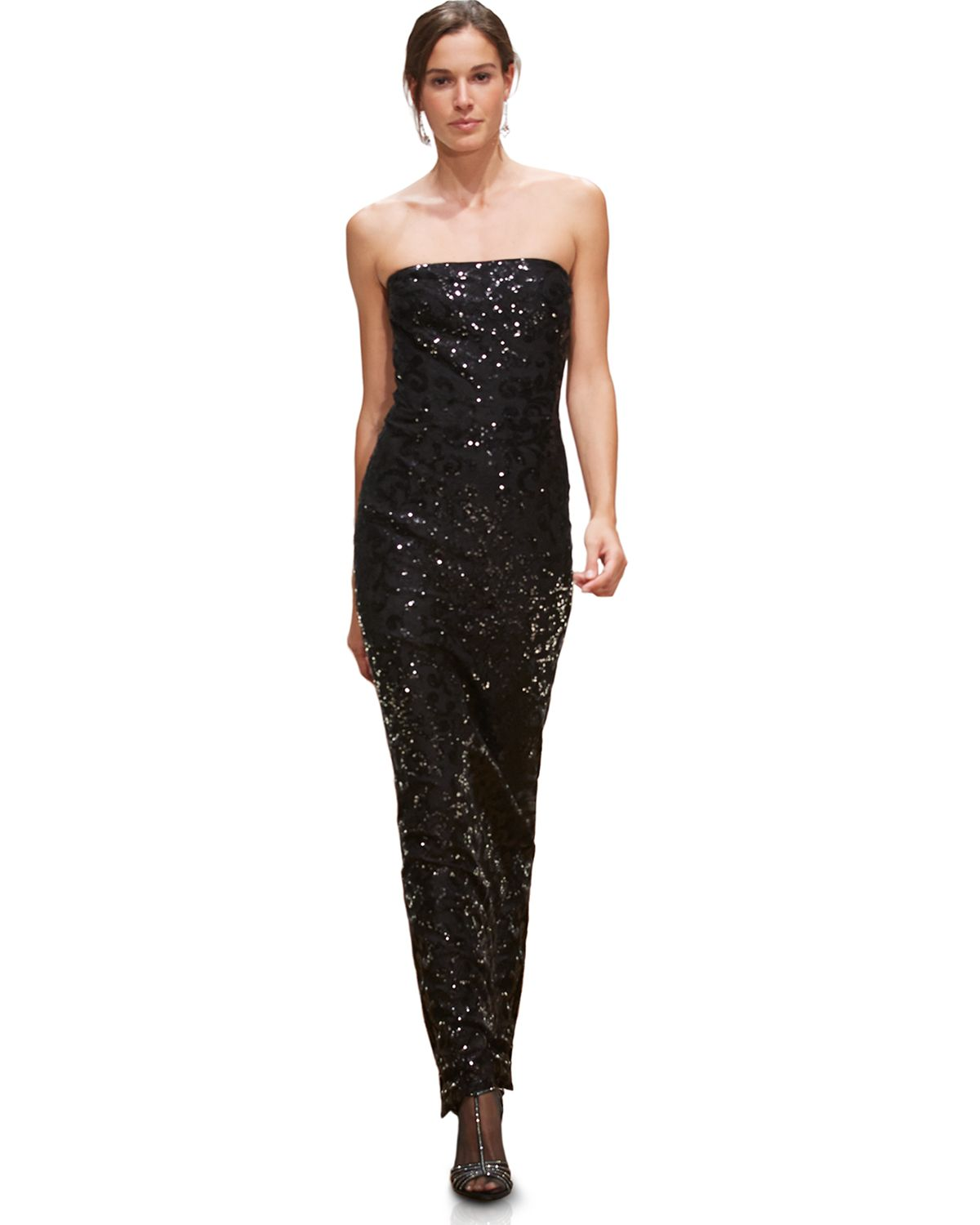 Lauren by ralph lauren Strapless Sequin Lace Gown in Black | Lyst