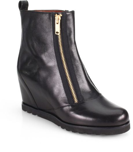 marc by marc winter warming leather wedge boots in