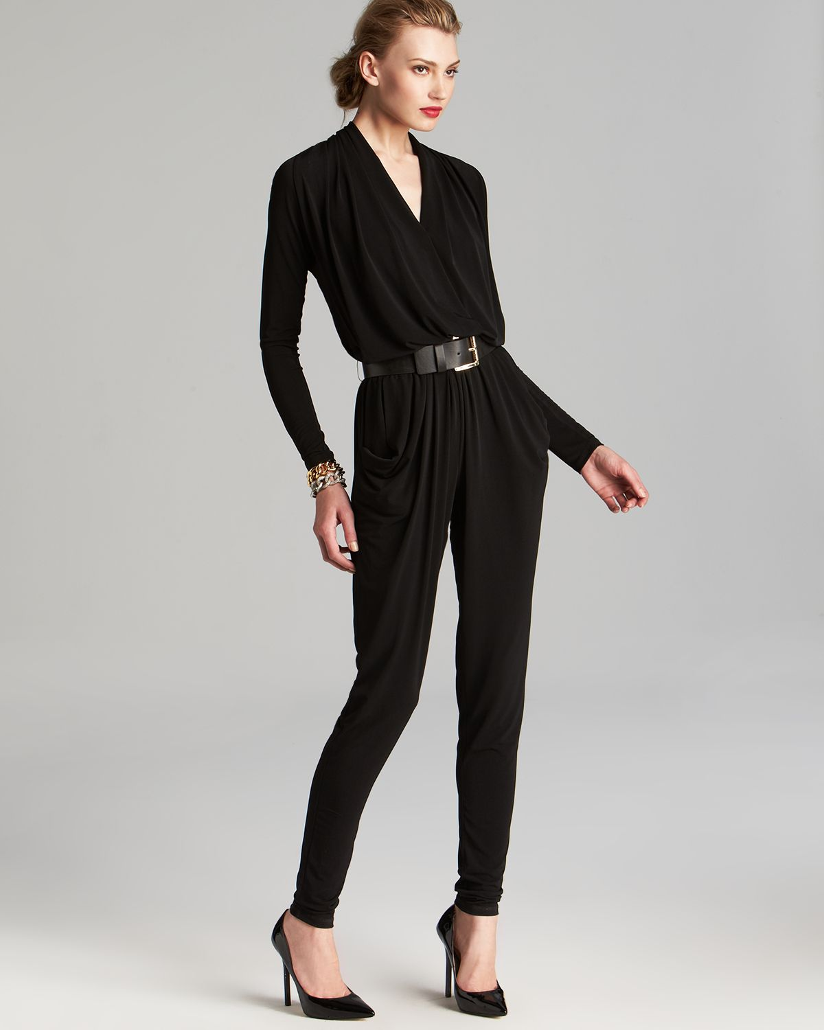 Michael michael kors Belted Jumpsuit in Black | Lyst