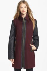 Michael by Michael Kors Faux Leather Sleeve Wool Blend Coat - Lyst