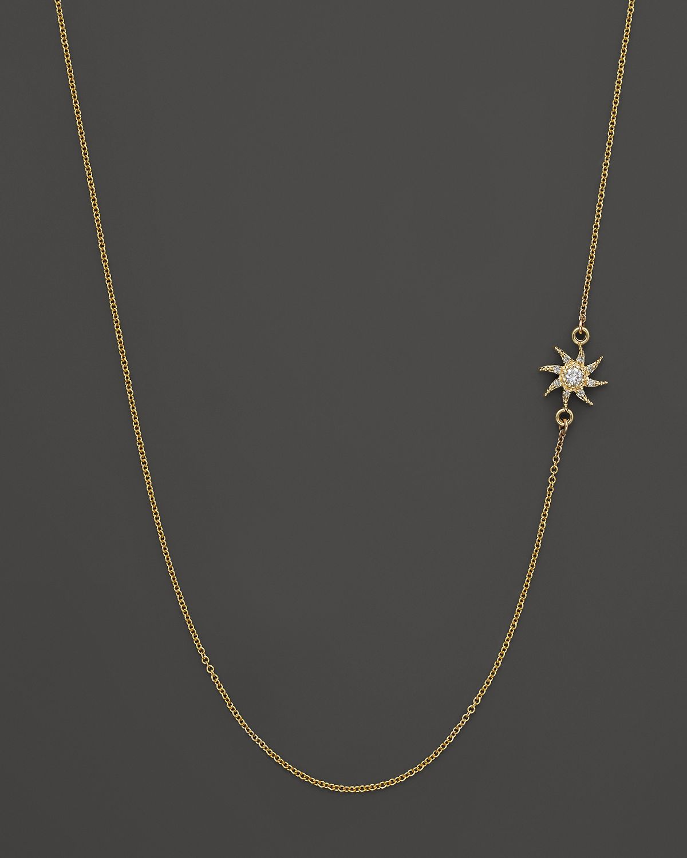 Mizuki 14k Yellow Gold Side Sun Feather With Diamonds
