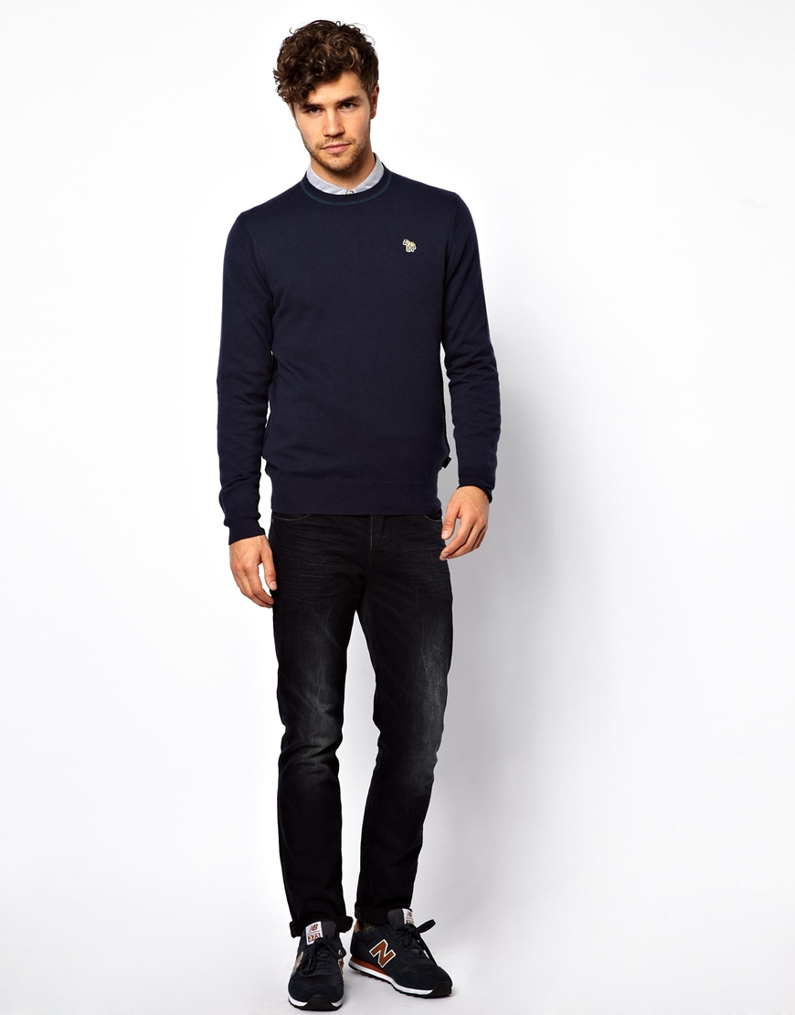 g star raw crew neck sweater with zebra in blue for men lyst. Black Bedroom Furniture Sets. Home Design Ideas
