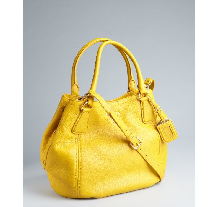 abaeeccf9f ... usa lyst prada mimosa pebbled leather convertible hobo bag in yellow  34c40 18553