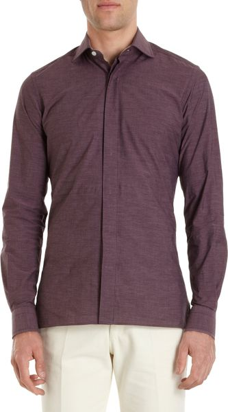 Rake endonend spread collar dress shirt in purple for men for What is a spread collar shirt