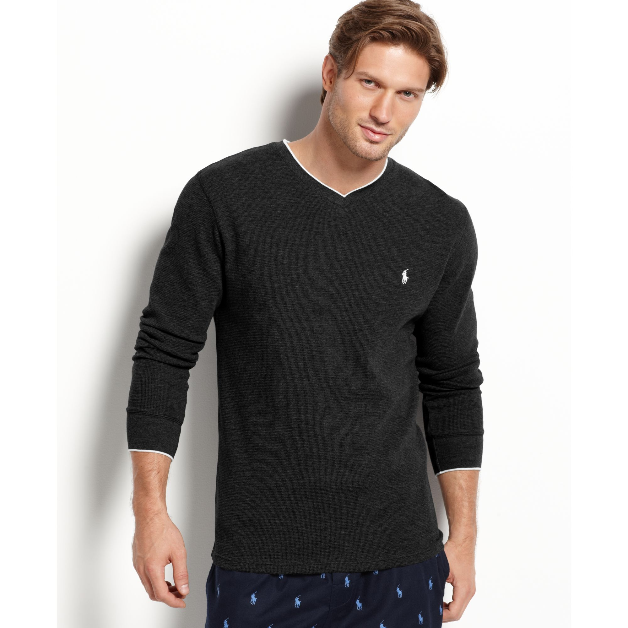 Ralph lauren long sleeve tipped v neck waffle thermal top for Mens black thermal t shirts