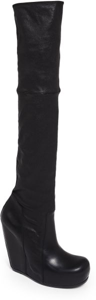 rick owens stretch leather thighhigh wedge boots in black