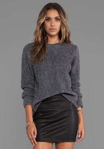 T By Alexander Wang Slub Wool Knit Pullover in Gray - Lyst