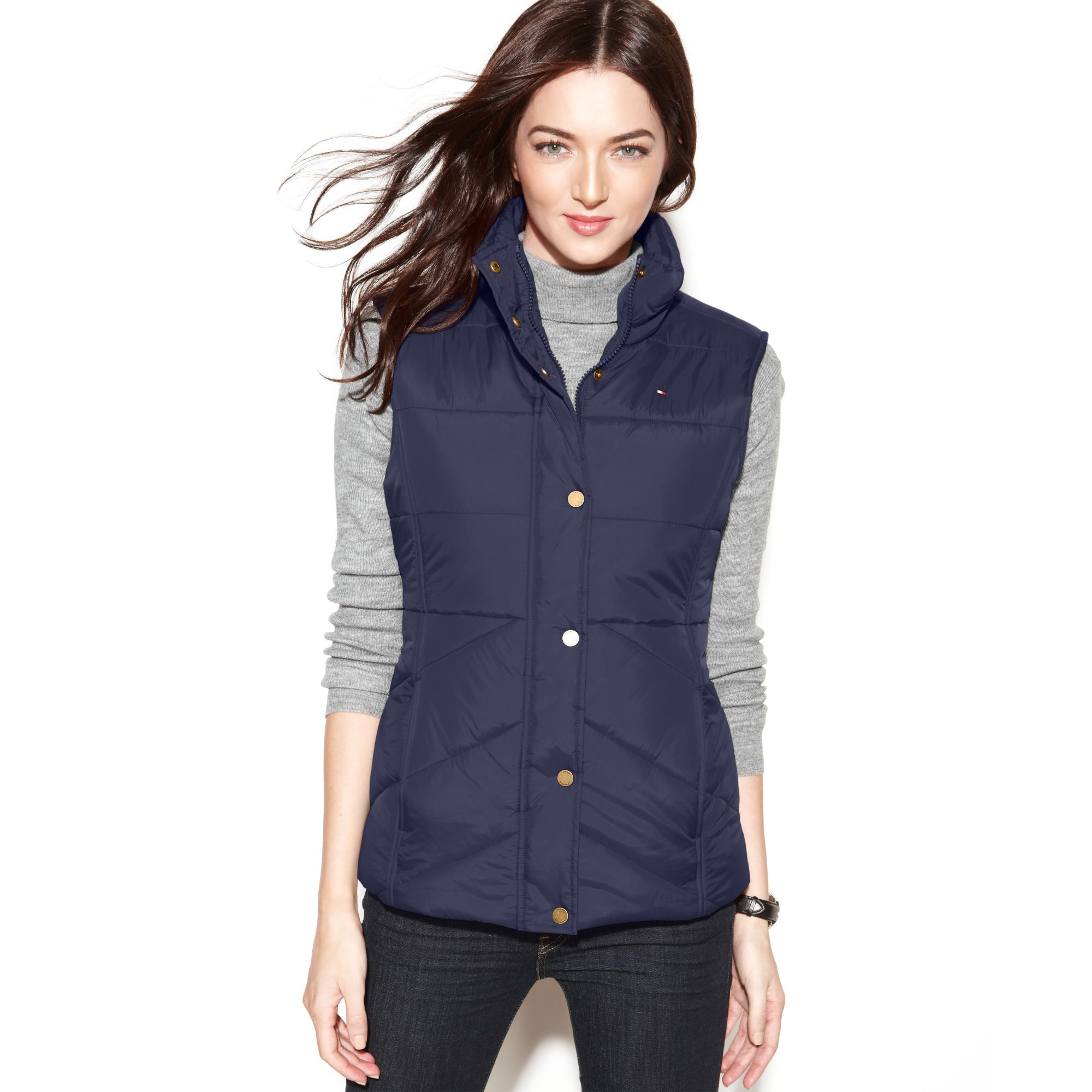 Tommy hilfiger Quilted Puffer in Blue   Lyst : tommy hilfiger quilted vest - Adamdwight.com