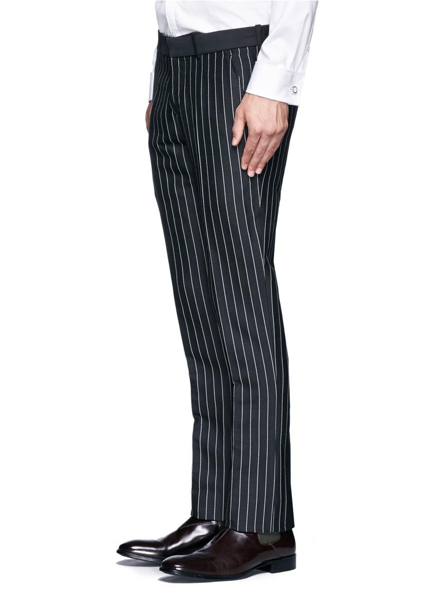 Lyst Alexander Mcqueen Pin Stripe Pants In Black For Men