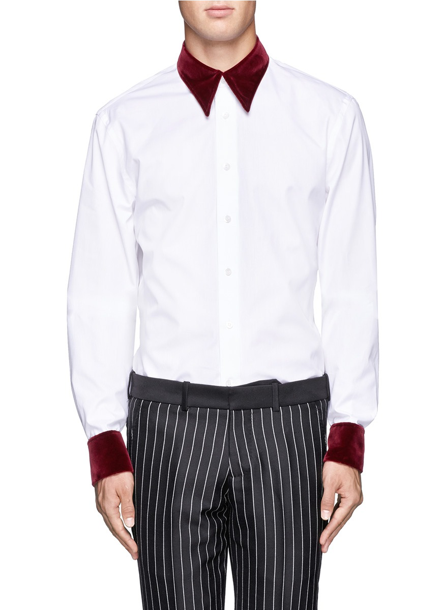 Alexander Mcqueen Contrast Velvet Collar And Cuffs Shirt