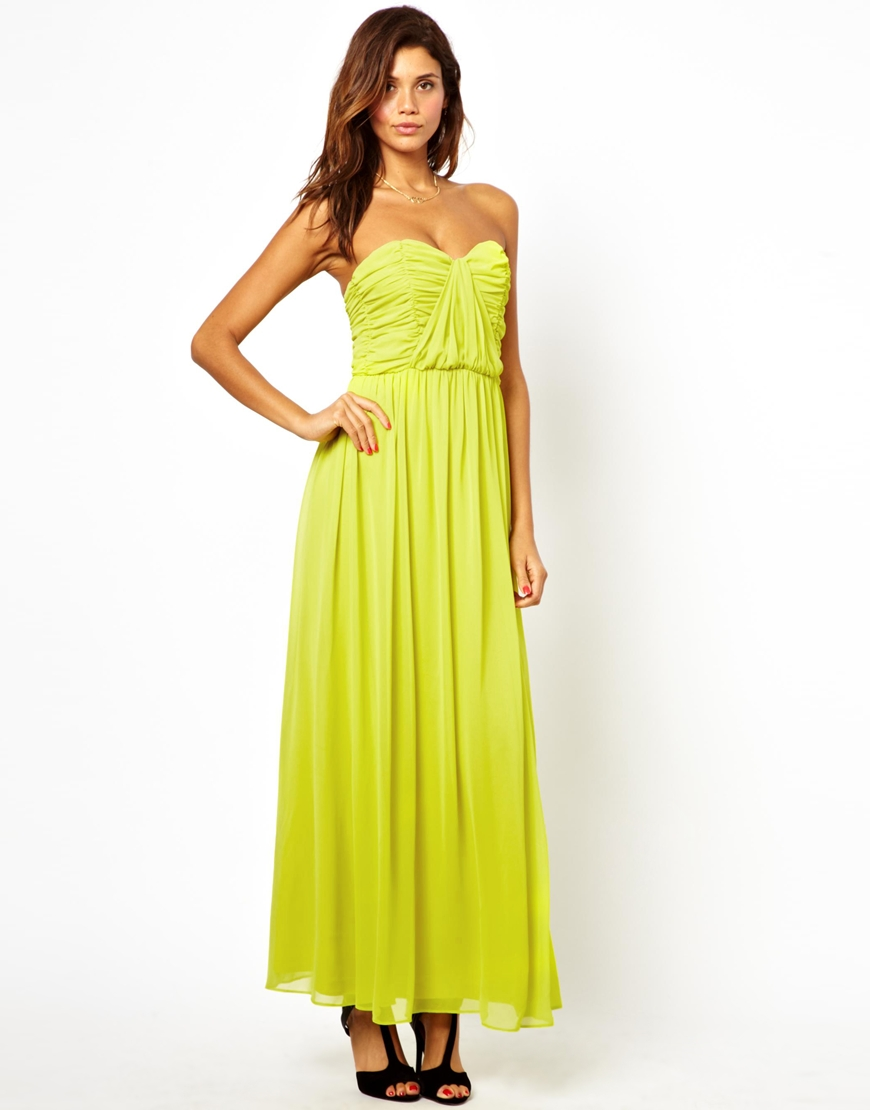 Asos Bandeau Ruched Maxi Dress in Yellow (Chartreuse) | Lyst