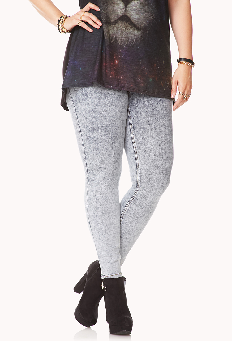 Forever 21 Grunge Acid Washed Jeggings In Blue Lyst Kaos Gallery
