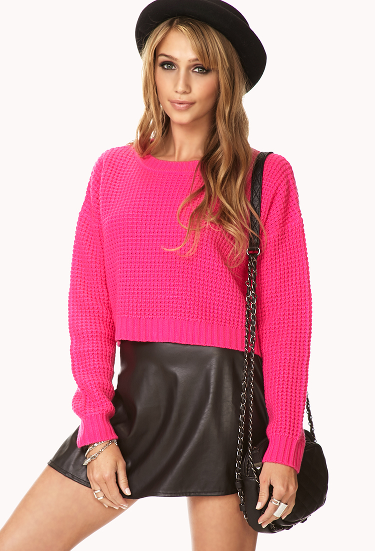 Forever 21 Cropped Waffle Knit Sweater in Pink (Hot pink ...