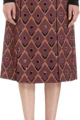 Giulietta Embellished Diamond Print Skirt - Lyst
