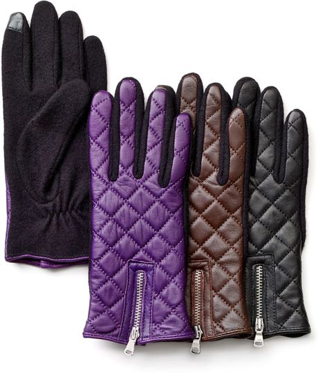 Lauren By Ralph Lauren Quilted Leather Fabric Tech Gloves