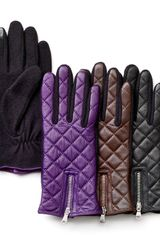 Lauren by Ralph Lauren Quilted Leather Fabric Tech Gloves - Lyst