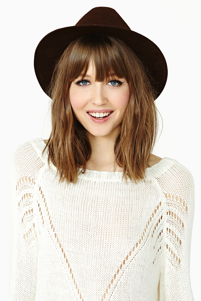 shoulder length hair styles with bangs gal incognito wool hat brown in brown lyst 8851