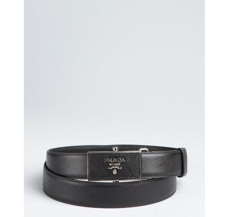 Prada Black Leather Sliding Plaque Buckle Belt in Black for Men | Lyst