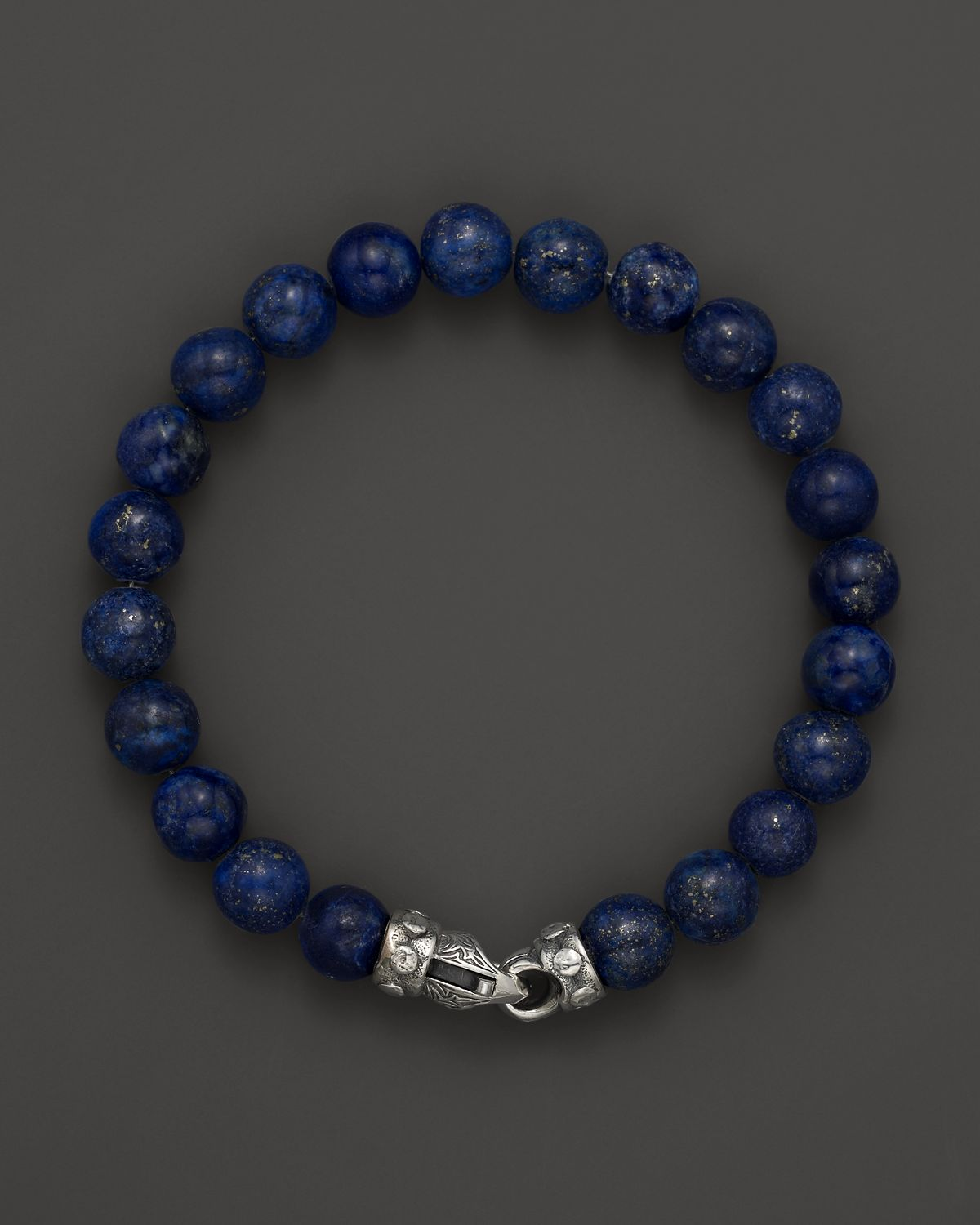 Scott Kay Mens Lapis Bead Bracelet With Riveted Sterling