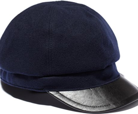 Vince Camuto Wool Cap W Faux Leather Brim in Blue (Peacoat)