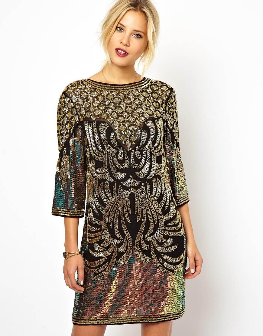 Lyst Asos Baroque Embellished Dress In Metallic