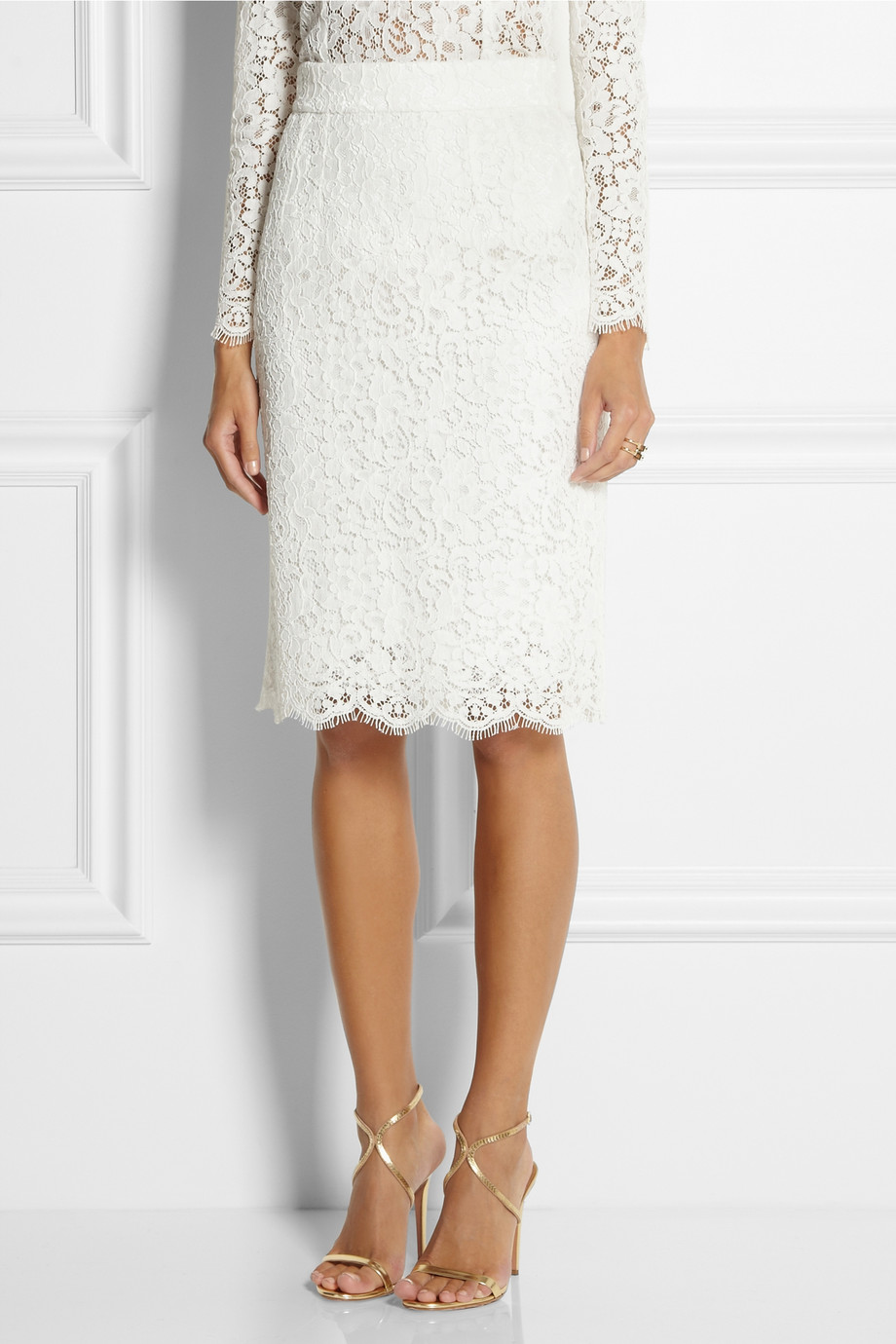 Dolce & gabbana Cottonblend Lace Pencil Skirt in White | Lyst