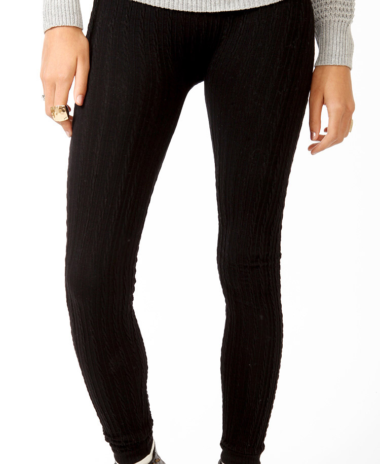 Forever 21 Cable Knit Sweater Leggings In Black Lyst