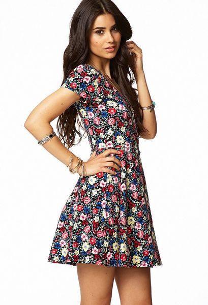 Forever 21 Fit Flare Floral Dress In Red Black Red Lyst