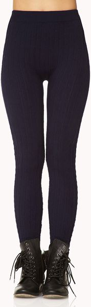 Forever 21 Cable Knit Sweater Leggings In Blue Navy Lyst