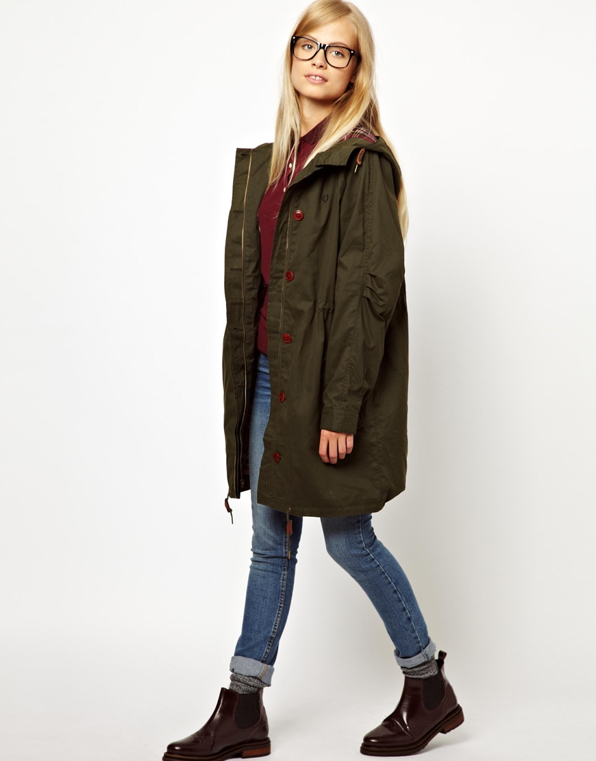 Fred perry Classic Parka in Green | Lyst