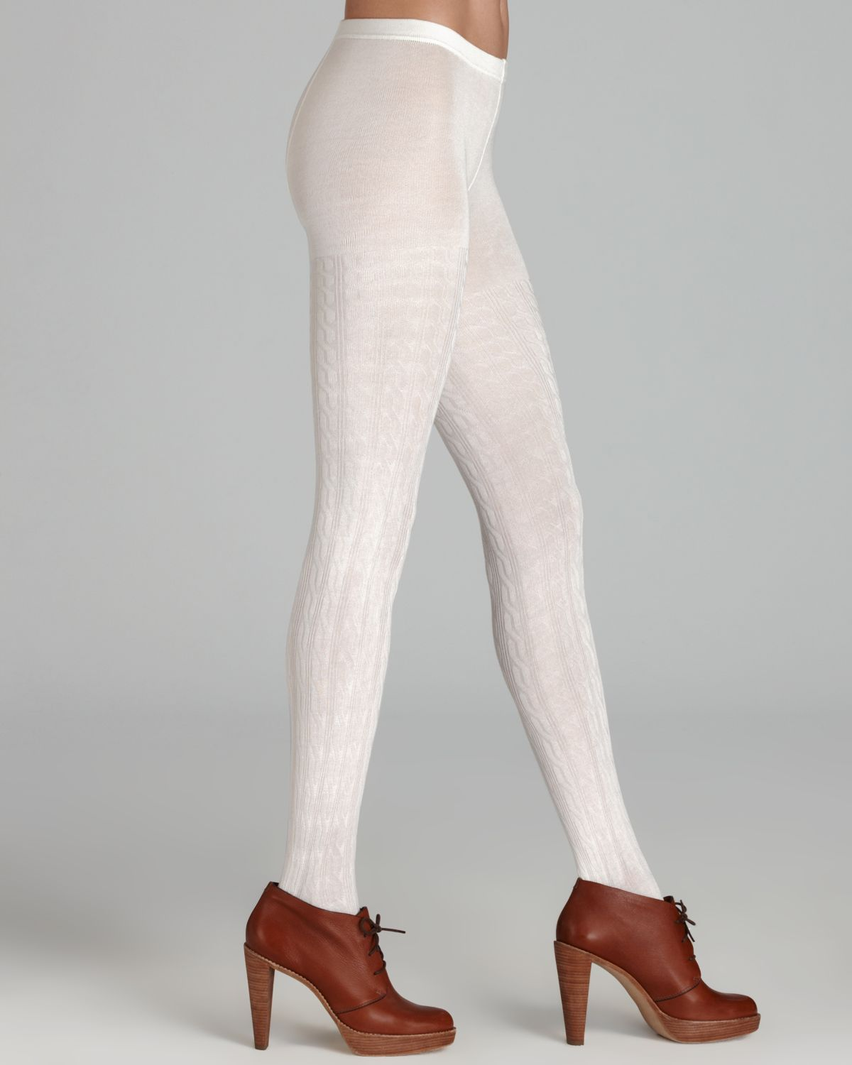 Hue Cable Sweater Tights in White | Lyst
