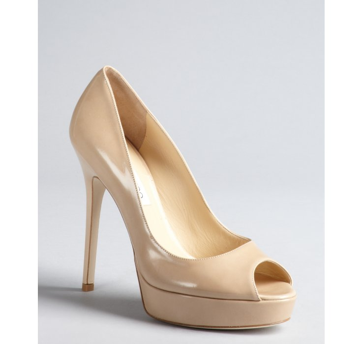 94ada8b96 ... czech lyst jimmy choo nude patent leather crown peep toe pumps in  natural 0322a 2e6ea