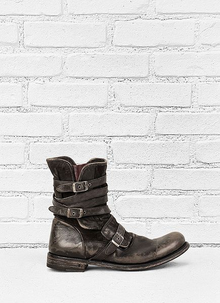 John Varvatos Engineer Triple Buckle Boot In Gray For Men