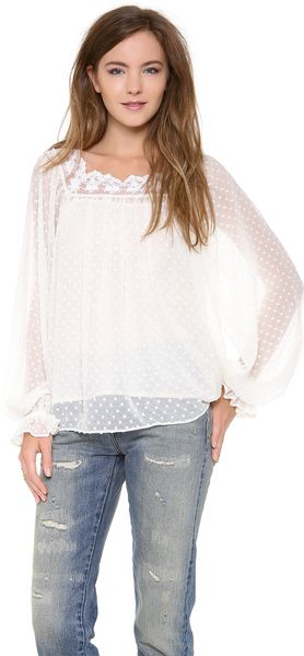 Love Sam Lace Peasant Top - Lyst