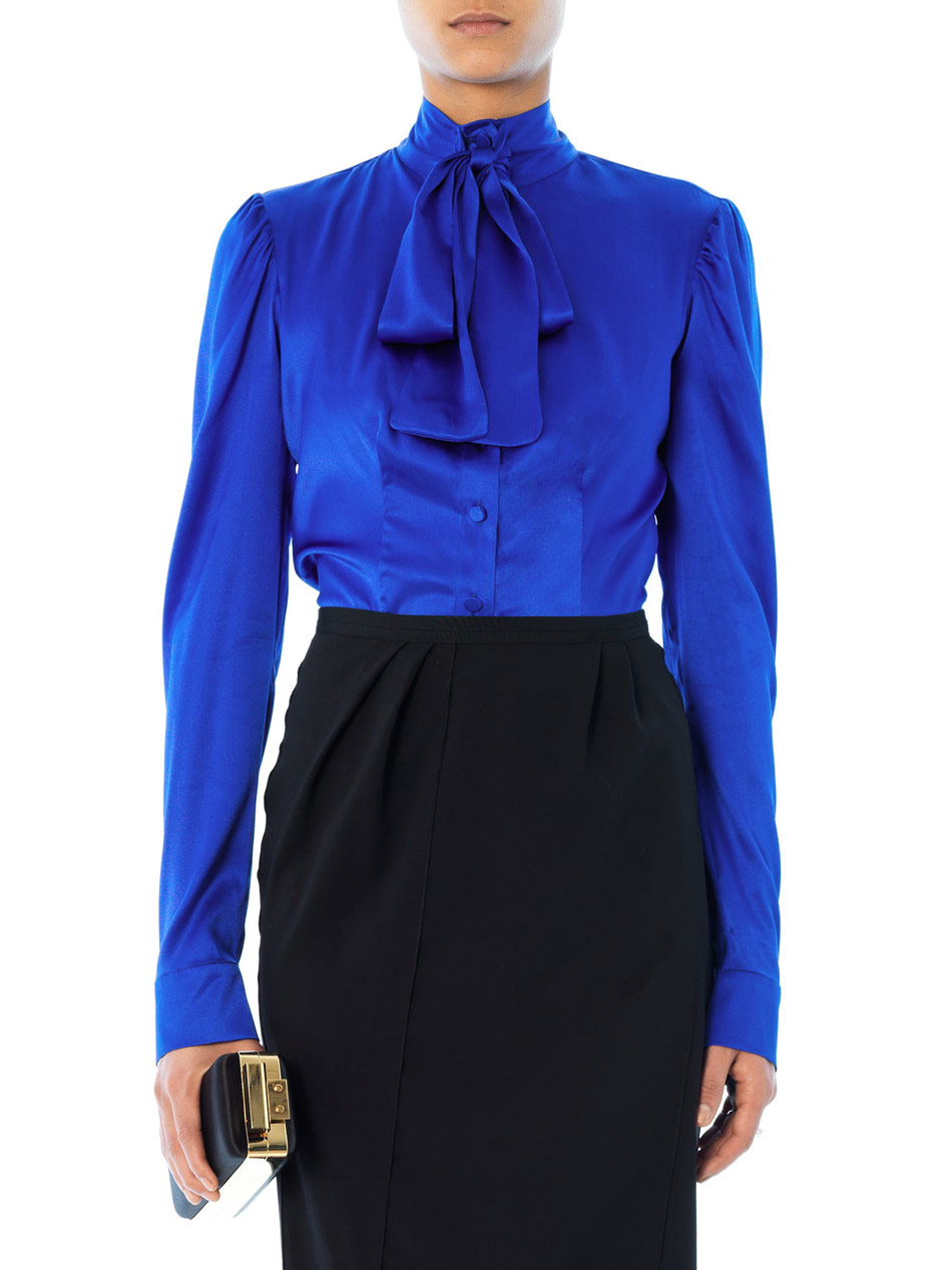 High Neck Bow Tie Blouse