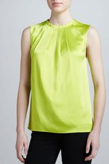 Michael Kors Pleated Satin Top Acid - Lyst