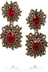 Oscar de la Renta Sunburst Gold Plated Crystal Clip Earrings - Lyst
