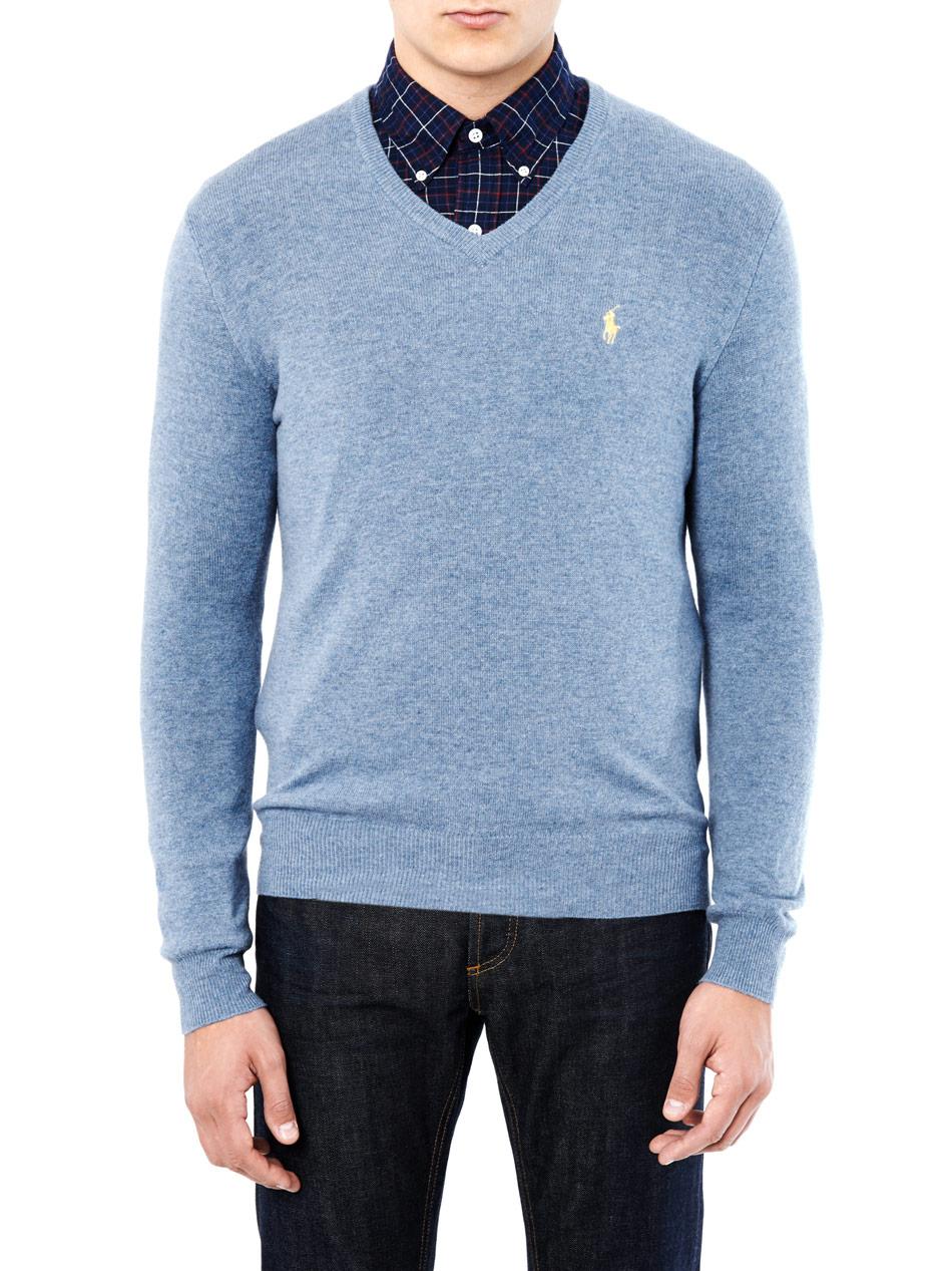 Wool Sweater Grey: Polo Ralph Lauren Vneck Merino Wool Sweater In Blue